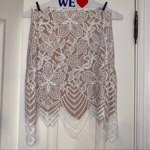 For Love and Lemons white beige lace skirt